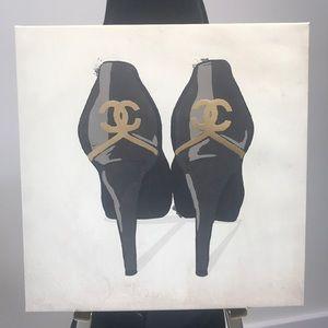 Other - Black & Gold Chanel CC Black High Heels Print 👠